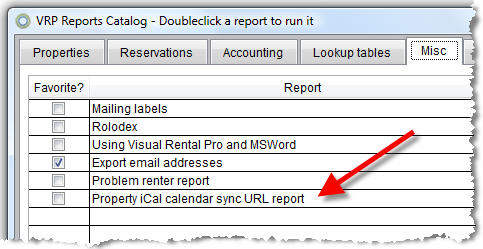 iCal URL report for VRP